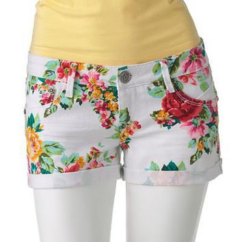 Vanilla Star Floral Denim Shortie Shorts