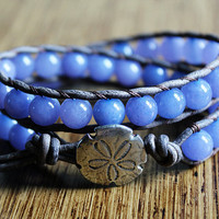 Sand Dollar Bracelet, Leather Beaded Wrap Bracelet, Nautical Jewelry, Beachy, Bohemian Bracelet, Boho Chic, Surfer Chic