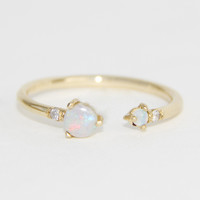 Open Opal and Diamond Ring