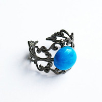 Turquoise-Colored Howlite Ring  - Gunmetal Vintage-Style Filigree Ring with a Dyed-Turquoise Howlite Cabochon