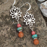 Silver Lotus Flower Earrings - Red Aventurine, Pink Malaysia Jade and Magnesite Beaded Earrings - Colorful Jewelry - Yoga Earrings