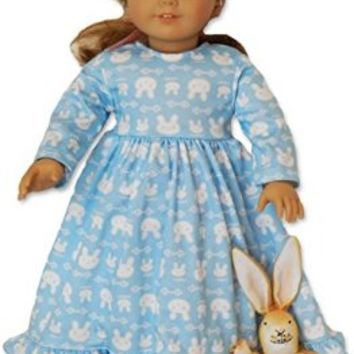 ★ Blue Bunny Nightgown for American Girl Doll Clothes ★ Quality 18 Inch Doll Clothes - Fits Our Generation Dolls - Amazing Baby Doll Clothes - Great Dolls for Girls - Full Year Guarantee!