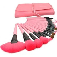 Housweety 24pcs Roll up Case Cosmetic Brushes Kits Pro Wooden Handle Makeup Brushes Tools (Pink)