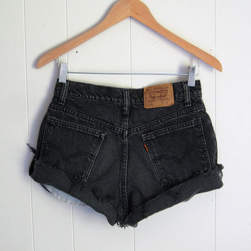 Vintage Levi's Black Mid High Waisted Cut Off Denim Shorts Jean Cuffed 27""