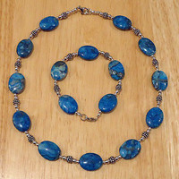 Blue Crazy Lace Agate Necklace and Bracelet, Jewelry Set, Gemstone Necklace and Bracelet, Sterling Silver and Gemstone Necklace