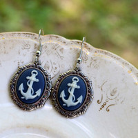 Anchor Earrings - Antique Silver - Navy Blue - Nautical Earrings