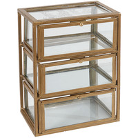 "10"" Three-Level Glass Box, Gold, Boxes"
