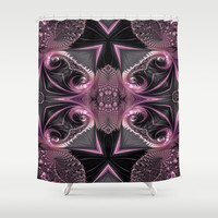 Beautiful Pink&Black Lace Fractal Butterfly Shower Curtain by Amy Anderson