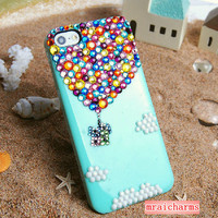 Crystals Hot Air Balloon clouds iphone 5 5s 5c 4 4s Case,ipod 4/5, Samsung Galaxy S5/S3/S4,Note 1/2/3,Mega 6.3,Htc One,Blackberry Q10 Z10