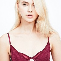 Free People Plaid Mesh Bra in Burgundy - Urban Outfitters