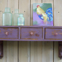 Floating Wall Shelf - Floating Desk - Drawers - Cottage Chic - Shabby - French Country - Paris Apartment