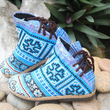 Womens Funky Ankle Boots Brilliant Blue Ethnic Hmong Embroidery