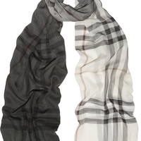 Burberry Shoes & Accessories - Checked wool and silk-blend scarf