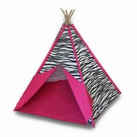 Children`s Canvas Teepee Tent Zebra Striped with Hot Pink Trim 72 In.
