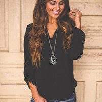 V Neck Blouse- Black