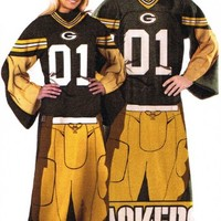 NFL Football Green Bay Packers Comfy Throw ~ Blanket with Sleeves - Large Unisex Adult Size