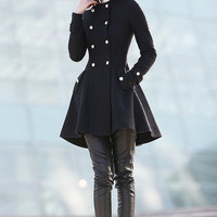 Cape coat black wool coats for women-CF071