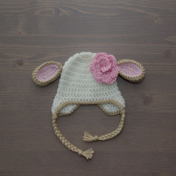 Crochet Lamb Hat with Flower, Baby Lamb Hat, Crochet Baby Hat, Crocheted Baby Hat, Newborn Photography Prop, Baby Shower Gift, Baby Girl Hat
