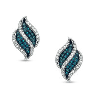 1/8 CT. T.W. Enhanced Blue and White Diamond Flame Earrings in Sterling Silver