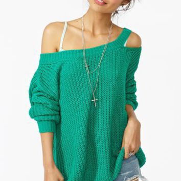 Slashed Up Knit - Teal