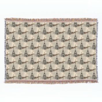 Vintage Santa over Paris Christmas Throw Blanket