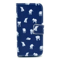 iPhone 5C Case, Speedtek Elephant Pattern Premium PU Leather Wallet Flip Protective Skin Case with Magnetic Closure for Apple iPhone 5C (2013) (Built-in Credit Card/ID Card Slot)