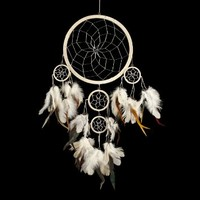 """Dream Catcher ~ Traditional Cream & Silver with Black & White feathers 8"""" Diameter & 20"""" Long!"""