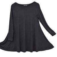 Sin+Sinners Women's Long Sleeved Drape Flowing Hem Relaxed Tunic Top (A003)