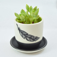 Porcelain Planter with Hand Painted Feather and Chartreuse Inside