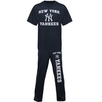 New York Yankees Pre-Game Solid Knit Pant and T-Shirt Set - Navy Blue