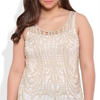 Plus Size Metallic Crochet Tank Top with Solid Back