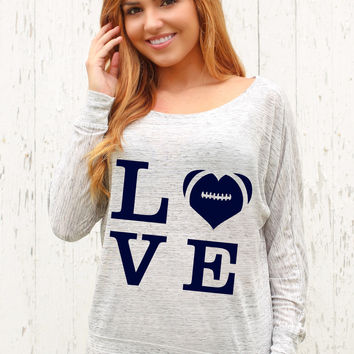 Love Football - Off The Shoulder Long Sleeve