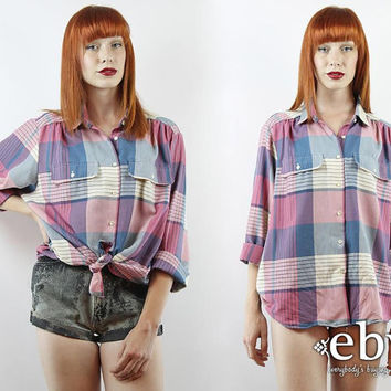 Vintage 80s Oversized Pink Plaid Button Up Shirt XL 1X 2X Oversized Plaid Shirt Plaid Blouse Plus Size Shirt Plus Size Vintage 90s Grunge
