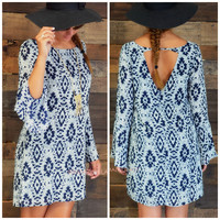 Memphis Blues Ikat Print Shift Dress