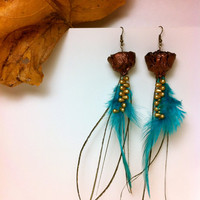 Unique Feather Earrings, urban jewelry, dangle, blue, czech glass, cedar rose