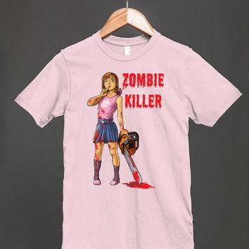 Zombie Killer - A Girl With a Chainsaw T Shirt - Many colors and styles to choose from