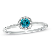 1/4 CT. T.W. Enhanced Blue and White Diamond Frame Ring in Sterling Silver - Size 7