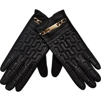 Black chain trim leather gloves