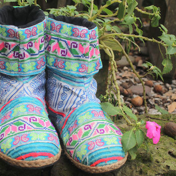 Alya Cuffed Womens Ankle Boots Funky Blue Mixed Ethnic Hmong Embroidery