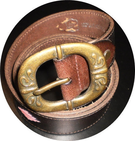 woman's vintage brown leather belt with vintage brass buckle