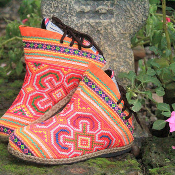 Amber Ethnic Womens Ankle Boots In Colorful Orange Hmong Embroidery