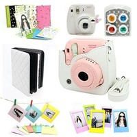 Fujifilm Instax Mini 8 Instant Camera Accessory Bundles Set (Included: White Mini 8 Vintage Case Bag/ White Diamond Style Instax Mini Book Album/ White Rabbit Design Mini 8 Close-Up Lens(Self-Portrait Mirror)/ Colorful Close-Up Lens For Mini 8/ Wall Decor