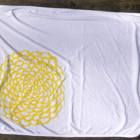 Hand-Drawn Floral Design in Yellow on White Baby Blanket