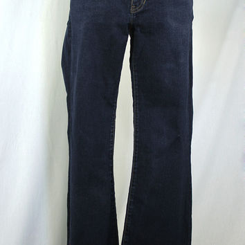 Dark wash long and lean boot cut jeans