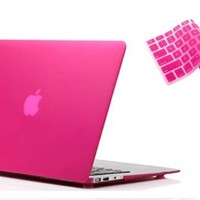 "RUBAN&#8482 2 in 1 Hard Case Cover and Keyboard Cover for Macbook Air 13-inch 13"" A1369 A1466 (MATTE HOT PINK):Amazon:Cell Phones & Accessories"