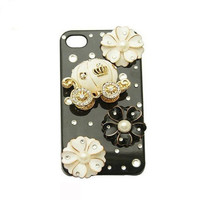 Handmade hard case for iPhone 4 & 4S: Bling pumpin car with elegant flower (custom are welcome)