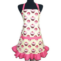 Cupcake Apron for Women , Butter Cream with Pink and white polka dot ruffle , Retro Kitchen Decor