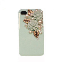 Handmade hard case for iPhone 4 &amp; 4S: Bling Eiffel Daisy Pearl leaves(custom are welcome)