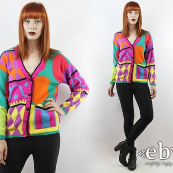 Vintage 80s Neon Graphic Cardigan Sweater S M Graphic Sweater Neon Sweater Vintage Sweater Vintage Jumper Hipster Sweater Cosby Sweater