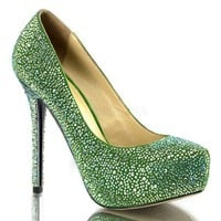 PRESTIGE-20 Green Suede Iridescent Rhinestone Covered Pump
